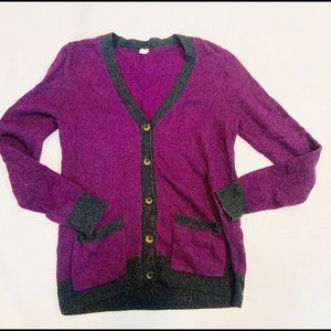 J crew purple button front sweater cardigan
